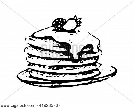 Pancakes With Maple Syrup And Berries Hand Drawn Doodle Icon. Vector Sketch Illustration Of Sweet Pa