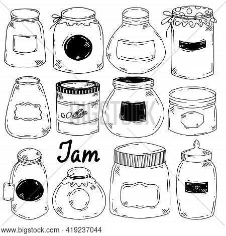 Set Of Vector Jars For Jam And Preserves Of Pink And Blue Flowers In The Style Of Doodle. Jars Of Va