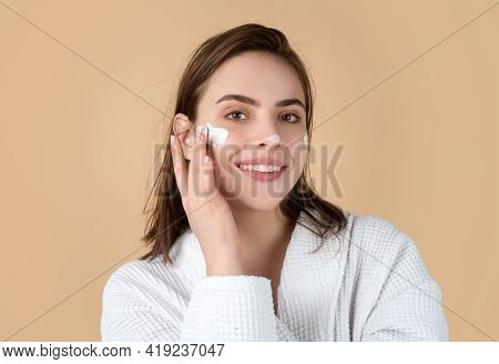 Moisture For Skin. Beauty Portrait Of Beautiful Female Model. Woman With Beauty Face, Natural Skin,