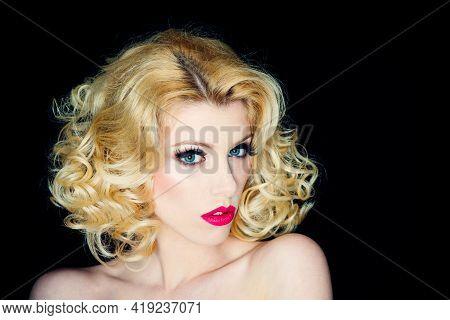 Portrait Of Young Woman With Fashion Makeup. Beautiful Elegant Woman Portrait Closeup.