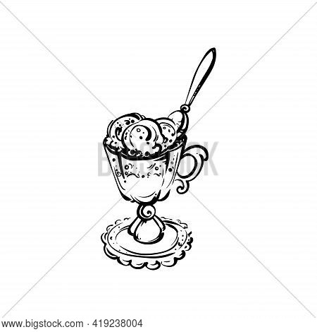 Hand Drawn Melting Ice Cream Scoops In Cup Isolated On White Background. Sundae Sketch Vector Illust