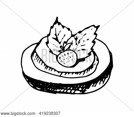 Cookie Hand Drawn Doodle Icon. Vector Sketch Illustration Of Sweet Pastry, Isolated On White Backgro
