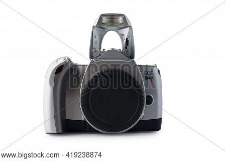 Zaporozhye, Ukraine May 3, 2021: Canon Eos Rebel Ti Photo Camera Isolated On White Background.