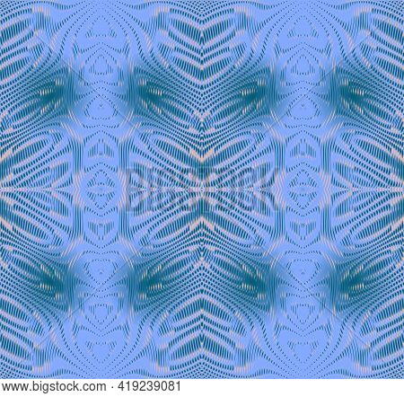 Vector Ornate Ornamental Background Of Stripes And Lines In Blue Colors With Moire Effect. Contempor