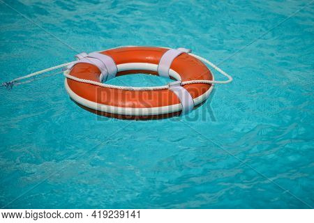 Water Rescue Emergency Equipment. Rescue Ring. Life Buoy In Swimming Pool.