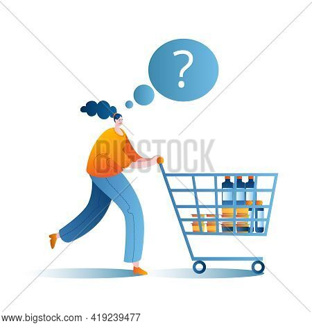 A Woman Goes To The Supermarket With A Cart. A Conceptual Illustration On The Topic Of A Supermarket