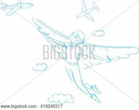 Reaching A Dream. A Boy With Wings Flying Towards His Dream. Outline Illustration Contour; Vector