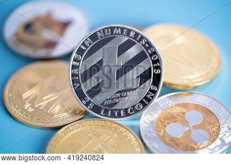 Silver Litecoin Ltc Group Included With Cryptocurrency Coin Dogecoin Doge, Bitcoin Btc, Binance Coin
