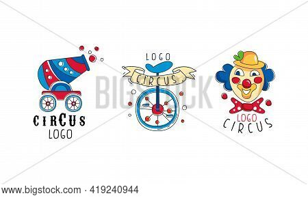 Circus Logo Collection, Carnival And Circus Show Retro Badges Hand Drawn Vector Illustration