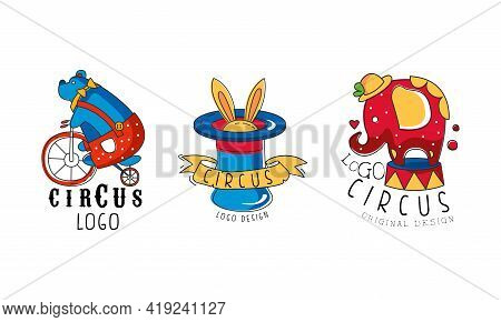 Circus Logo Set, Carnival And Circus Show Colorful Badges And Labels Hand Drawn Vector Illustration