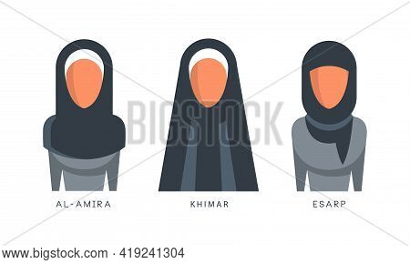 Muslim Female Headgears Set, Al-amira, Khimar, Esarp Headdress Flat Vector Illustration