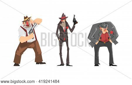 Male Gangsters In Retro Suits Set, Mafia Mob Characters Cartoon Vector Illustration