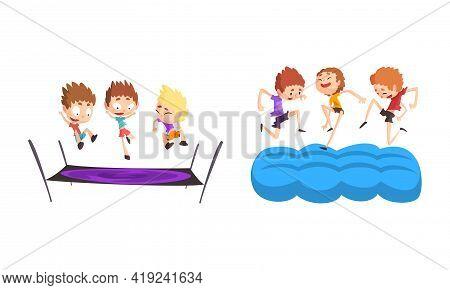 Happy Kids Playing Trampoline Set, Cute Boys Bouncing And Having Fun Cartoon Vector Illustration