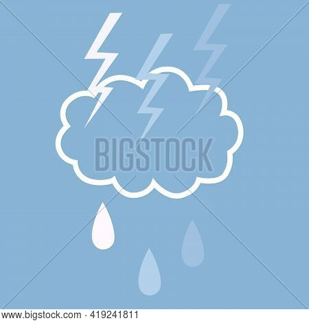 Flat Illustration With The Image Of A Thundercloud And Raindrops In White-blue Tones For Depicting W