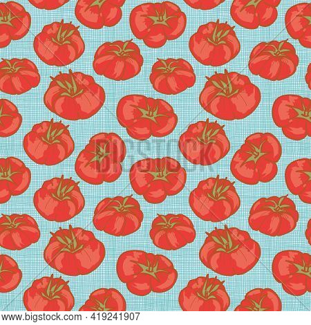 Heirloom Tomatoes Background Seamless Vector Pattern In A Modern Retro Style. Vector Design