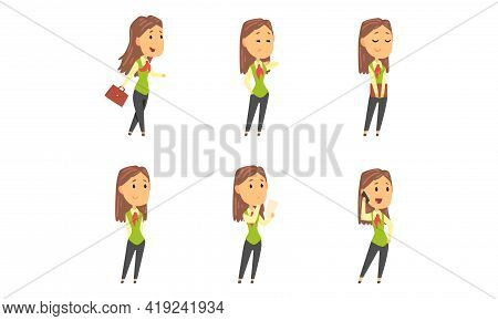 Businesswoman Character With Briefcase Having Busy Working Day Vector Set