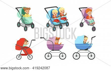 Little Toddlers Sitting In Baby Carriage Or Pram Vector Set