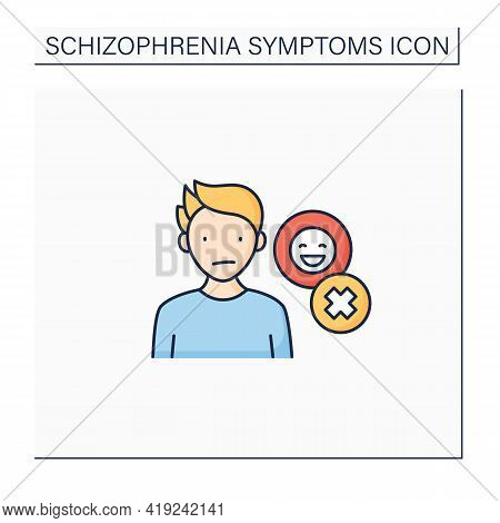 Negative Symptoms Color Icon.emotional Expression Lack. Inexpressive Face,lack Of Eye Contact, Restr