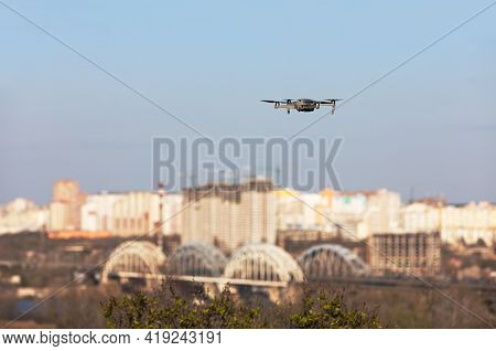 Drone Flies Against A Big City