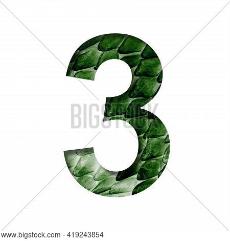 Dragon Scale Font. Digit Three, 3 Cut Out Of Paper On The Background Of The Dark Green Skin Of A Mys