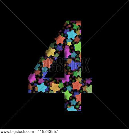 New Years Font. Digit Four, 4 Cut Out Of Black Paper On The Background Of Bright Colored Stars Of Di
