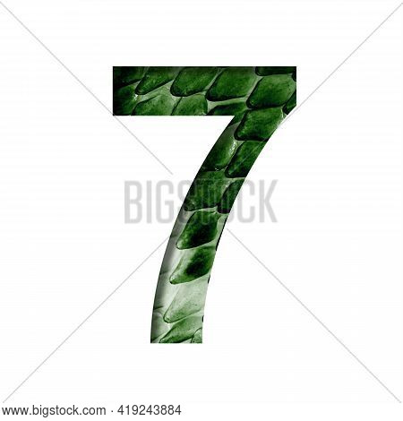 Dragon Scale Font. Digit Seven, 7 Cut Out Of Paper On The Background Of The Dark Green Skin Of A Mys