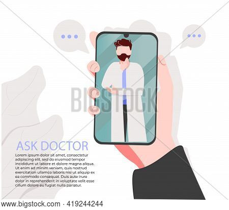 Smartphone Screen With Male Therapist On Chat In Messenger And An Online Consultation. Vector Flat I