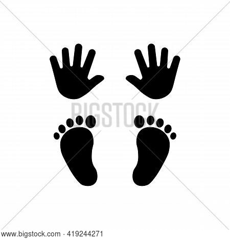 Black Icon Pair Of Hands And Pair Of Legs Sign. Vector Illustration Eps 10