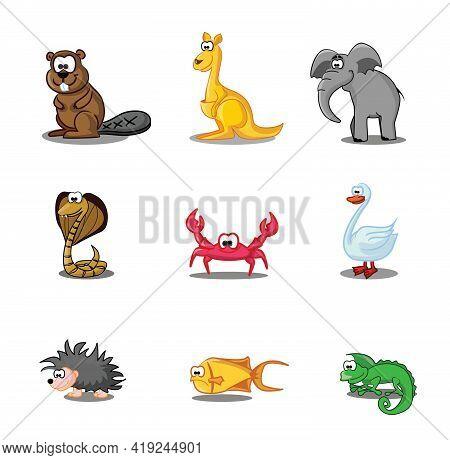 Collection Of Hipster Cartoon Character Animals Beaver, Kangaroo, Elephant, Cobra, Swan, Crab, Hedge
