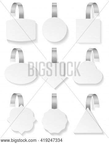 Wobblers White. 3d Blank Mockup Collection, Plastic Price Tag Template, Advertising Sale And Discoun