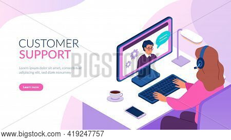 Isometric Support Service. Remote It Helping, Woman With Headset In Workplace, Round The Clock Web C
