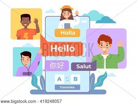 Multi Language Translator. Smartphone Chat App, International Multilingual Communication, Kids Avata
