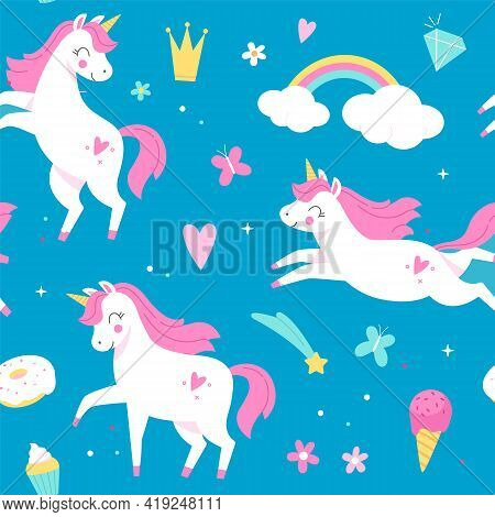 Seamless Pattern Unicorns. Magical Horses, Rainbow And Ice Cream On Blue Background, Baby Design Wit