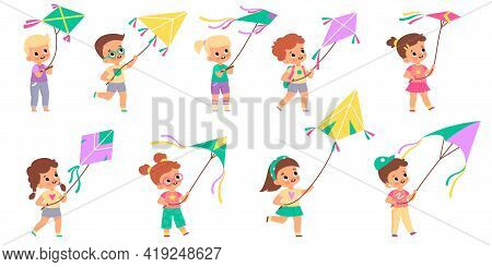 Kids With Kites. Happy Children Fly Color Kite Into Sky Collection, Different Colors Design Shapes,