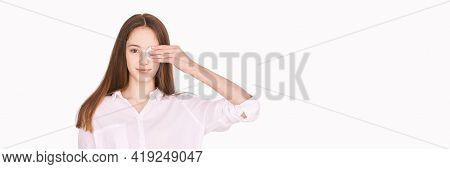 Pretty Girl Indoor Portrait. Light Background. Female Teenager Person. Long Brow Hair. Cleansing Dir