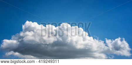 Overview Of A Beautiful Blue Sky Covered With Clouds. Nature.