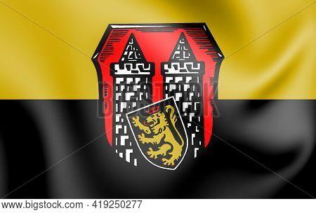 3d Flag Of Hof (bavaria), Germany. 3d Illustration.
