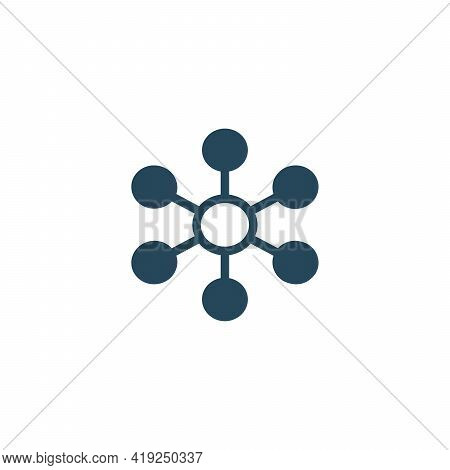 Hub Network Connection Isolated Minimal Flat Line Icon. Stock Vector Illustration Isolated On White