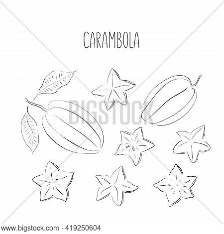 Carambola Star Fruit. Whole, Slice, Leaf. Black Ink Sketch Collection Of Tropical Fruits Isolated On