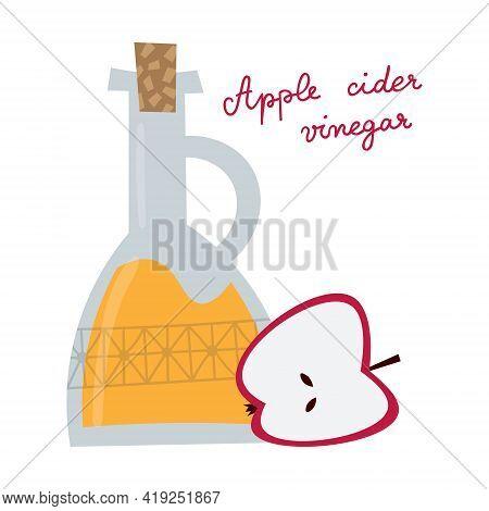Apple Cider Vinegar Bottle In Flat Style. Fruit Salad Dressing, Healthy Drink.