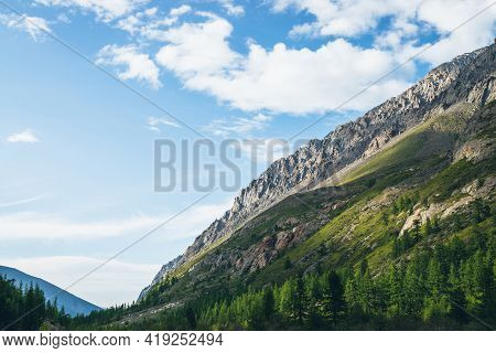 Beautiful Alpine Scenery With Diagonal Great Mountain Ridge Coniferous Forest And Rocks Under Blue C