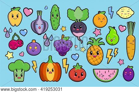 Set Of Colorful Images Of Cute Kawaii Vegetables And Fruits. Isolated Elements On Blue Background, F