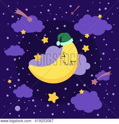 Vector Illustration Of Sleeping Smiling Kawaii Moon In The Nightcap Eps