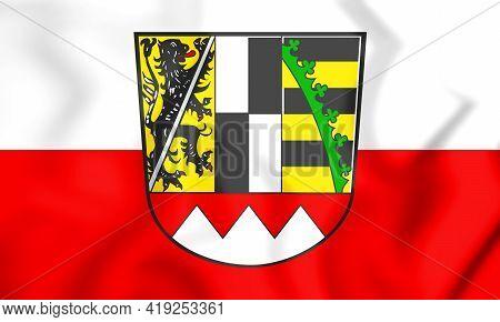 3d Flag Of Upper Franconia (bavaria), Germany. 3d Illustration.