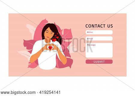 Contact Us Form Template For Web And Landing Page. Self Care And Body Positive Concept. Feminism, Fi