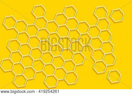 Honeycomb, Yellow Background. Hexagon Texture. Geometric Pattern.   Natural Bee Honey Concept. Flat