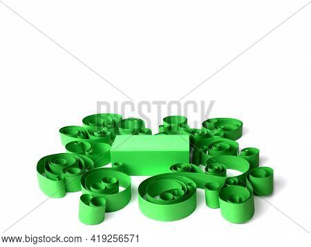 Stand For Advertising Display. Exhibition Green Podium With Geometric Shapes. Empty Pedestal For Dis