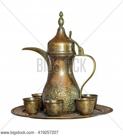 Turkish Coffee Set: Ottoman Ornate Coffee Pot And Small Ornate Cups, Isolated On White With Clipping
