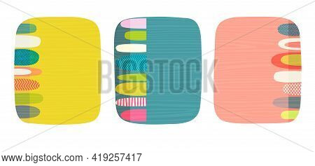 Set Of Bright Retro Abstract Design Templates With Space For Text Or Photo.  For Social Media, Cards