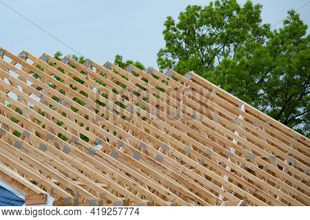 Rafters On The New House Wood Roof